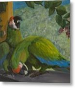 Garden Parrots Metal Print