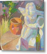 Garden Study With White Angel Figure Metal Print