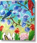 Garden View Birds And Butterfly Metal Print