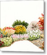 Garden Wild Flowers Watercolor Metal Print