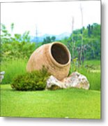 Garden With Amphora. Metal Print