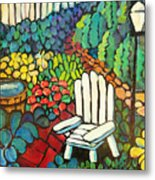 Garden With Lamp By Peggy Johnson Metal Print