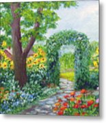 Garden With Sunflowers Metal Print