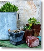 Gardening Pots And Small Shovel Against Stone Wall In Primosten, Croatia Metal Print