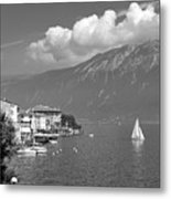 Gargnano On Lake Garda, Italy.    Black And White Metal Print