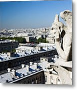 Gargoyle Guarding The Notre Dame Basilica In Paris Metal Print by Pierre Leclerc Photography
