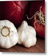 Garlic And Onions Metal Print