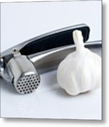 Garlic Press With Garlic Metal Print