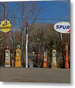 Gas Pumps And Gas Signs Panorama Metal Print