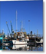 Glassy Harbor Reflection Metal Print