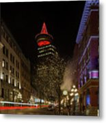 Gastown In Vancouver Bc At Night Metal Print