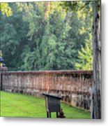 Gate And Brick Wall At Shiloh Cemetery Metal Print