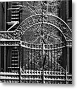 Gate And Snow Metal Print