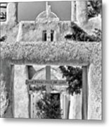 Gate To Ranchos Church Black And White Metal Print