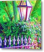 Gate With Lantern Metal Print