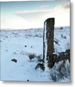 Gatepost In The Snow Metal Print
