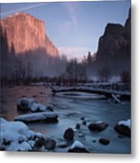 Gates Of The Valley In Winter Metal Print