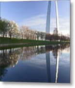Gateway Arch And Reflection Metal Print