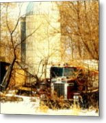 Gathered  Under The Silo Metal Print