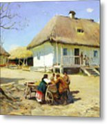 Gathering Near The Homestead Metal Print