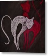 Gato De Rojo Metal Print