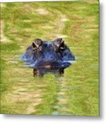Gator In The Green - Digital Art Metal Print