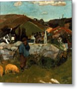 Gauguin: Swineherd, 1888 Metal Print