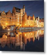 Gdansk By Night Metal Print