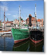 Gdansk Old Town Skyline From The Harbour Metal Print