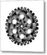 Gearwheel In Black And White Metal Print