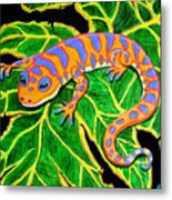 Gecko Hanging On Metal Print