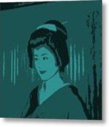 Geisha In Blue Metal Print