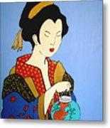 Geisha With Fish Metal Print