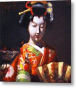 Geisha With Golden Fan Metal Print
