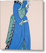 Geisha With Parasol Metal Print