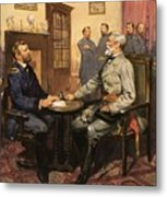 General Grant Meets Robert E Lee  Metal Print