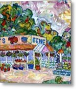 Gene's Farm Stand Metal Print by Popo  Flanigan