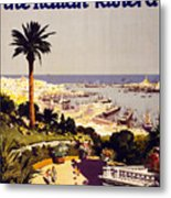 Genoa And The Italian Rivera Vintage Poster Restored Metal Print