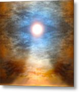 Gentle Mantra Om Light Glowing Into The Sea Metal Print