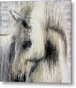 Gentle White Horse Metal Print
