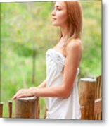 Gentle Woman On Terrace Metal Print