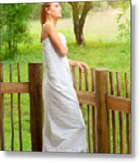 Gentle Woman Standing On The Porch  Metal Print