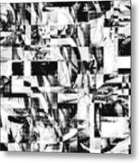 Geometric Confusion - Black And White Metal Print