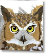 Geometric Great Horned Owl Metal Print