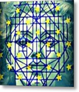 Geometrized Mask Metal Print