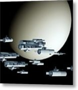 Geometry Spaceships Metal Print