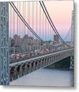 George Washington Bridge And Lighthouse I Metal Print