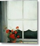 Geraniums In Window Metal Print by Glenda Barrett