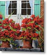 Geraniums On The Porch Metal Print