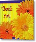 Gerbera Daisy Thank You Card Metal Print